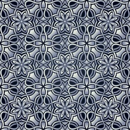 arabesque wallpaper: Seamless wallpaper stilizzata come griglia in acciaio o argento