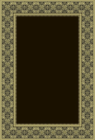 gold textured background: Golden or bronze phtoto frame in retro style. Illustration