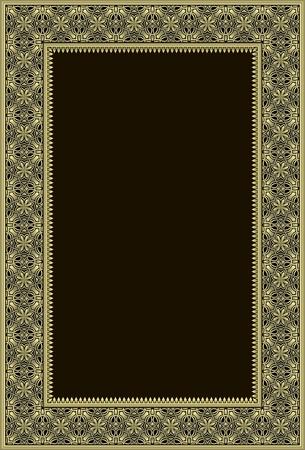 Golden or bronze phtoto frame in retro style. Vectores