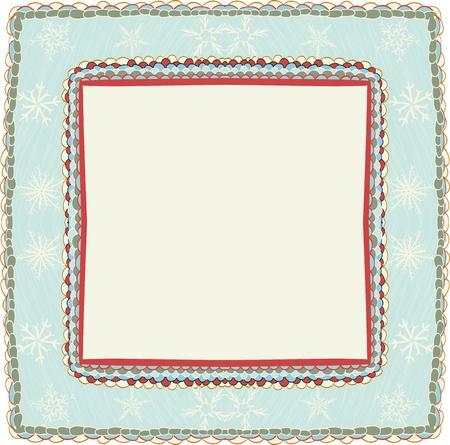 lace edges: Hand drawn christmas frame with snowflakes