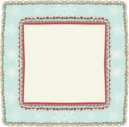 edge: Hand drawn christmas frame with snowflakes