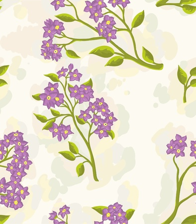Repeating wallpaper with hand drawn flowers.