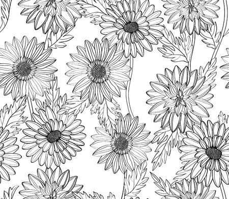 Hand drawn flowers on the white background. Seamless pattern. Vector Vector