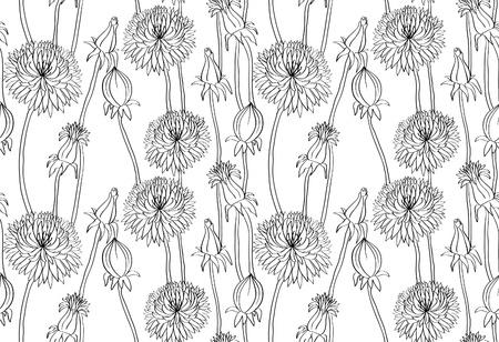 Black hand drawn dandelions on white background. Seamless wallpaper. Vector