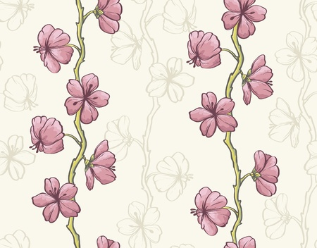 Pink sakura on beige background. Seamless wallpaper. Vector