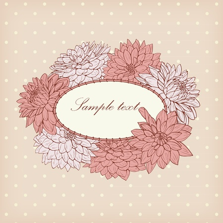 Frame with pink flowers on polka dot background Vector