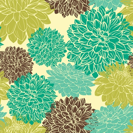 Floral seamless pattern with blue,green and brown flowers on beige background Stock Illustratie