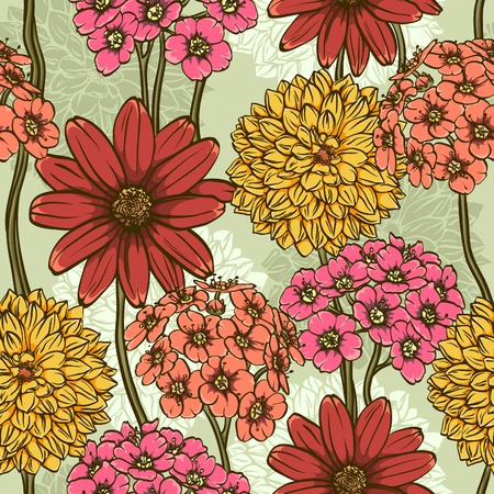 Colorful floral seamless wallpaper with magnetic hand drawn flowers