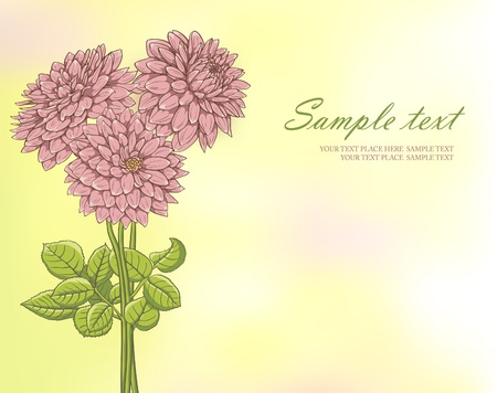 FLoral background with pink hand drawn flowers on gradient mesh background