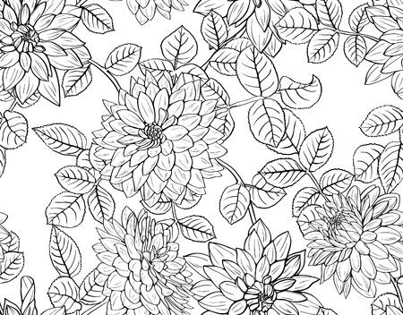 Bloemen naadloze patroon met zwarte en witte bloemen