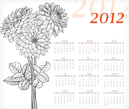scheduler: Floral calendar for 2012 year with black and white flowers