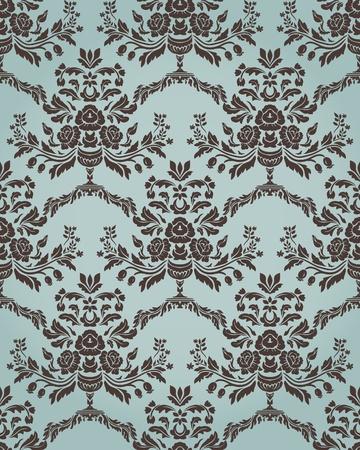 꽃 요소와 복고 스타일 원활한 패턴을 다마 스크.
