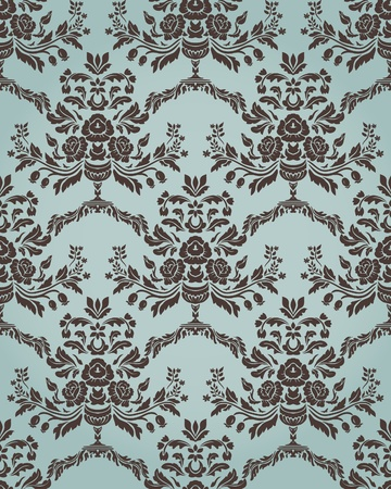 textiles: Damask seamless pattern in retro style with floral elements.