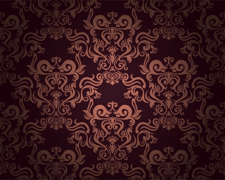 Damask seamless pattern in retro style with floral elements.  Illustration