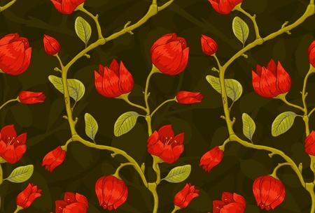 Floral seamless pattern with red tulip.