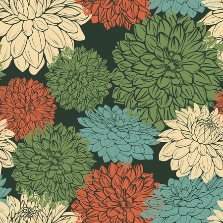 textile image: floral seamless pattern with green, beige and red flowers on dark bakground. Illustration