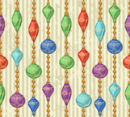 christmas seamless pattern with new year toys, snowflakes, lines and garlands Vector