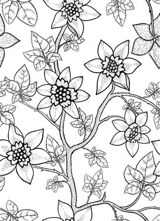 floral: black and white floral seamless pattern with hand drawn flowers