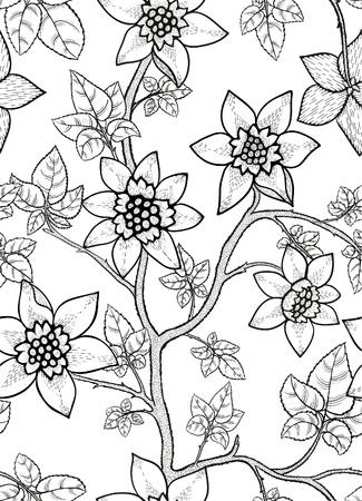 zwarte en witte bloemen naadloze patroon met de hand getekende bloemen