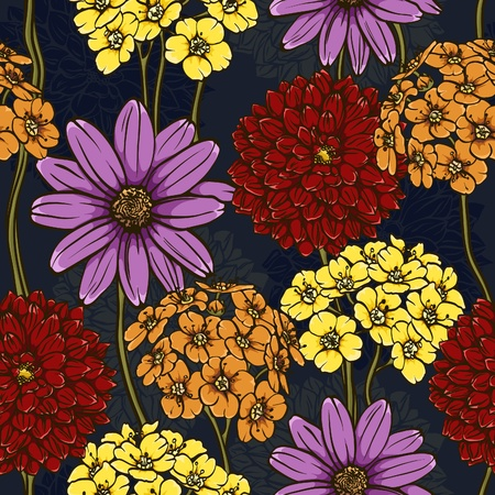floral seamless pattern. hand drawn flowers. briht colors. perfect for wraping paper, wallpaper,textile