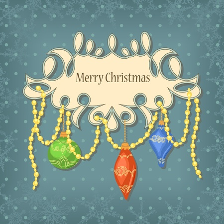 christmas card with balls in retro style Vector