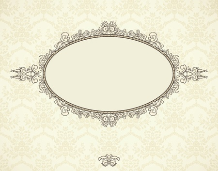Vintage frame on seamless wallpaper. Could be used for Christmas invitation. Vectores
