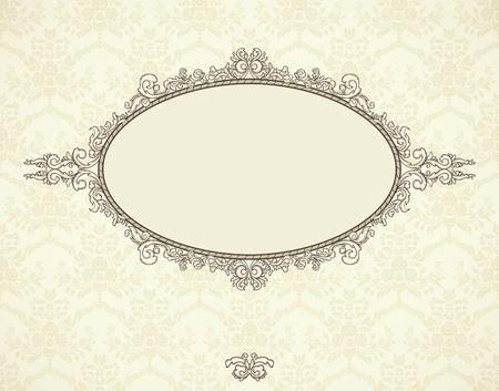 Vintage frame op naadloze behang. Kan gebruikt worden voor de kerst uitnodiging. Stock Illustratie