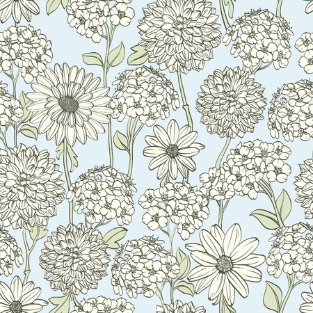 flower close up: Floral seamless background with hand drawn flowers