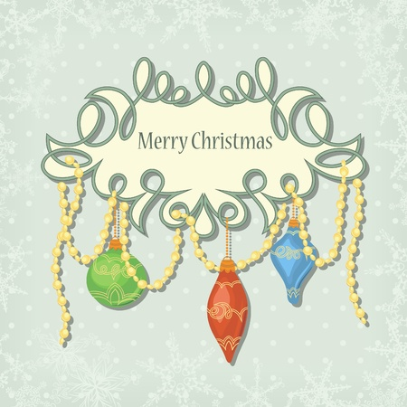 christmas card with balls in retro style Ilustração