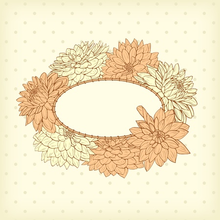 greeting card background: Floral frame with hand drawn flowers Illustration