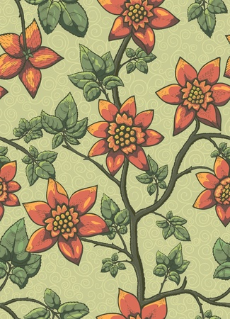 Floral seamless pattern. Hand drawn flowers. Bright colors. Perfect for wrapping paper, wallpaper,textile Иллюстрация