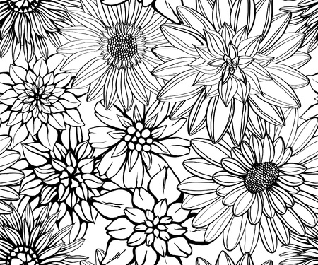 wallpaper: Hand drawn floral wallpaper with set of different flowers