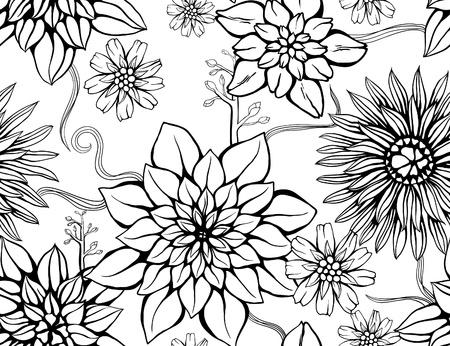 Getrokken bloemen behang met set van verschillende bloemen