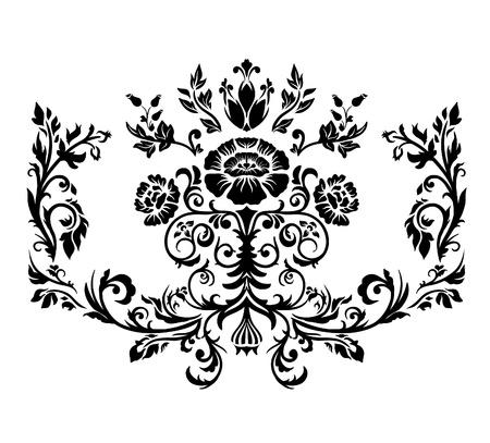 Damask ornament. Black and white. Illustration, vector. Vector