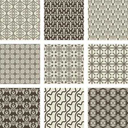 textiles: set of 9 seamless patterns.