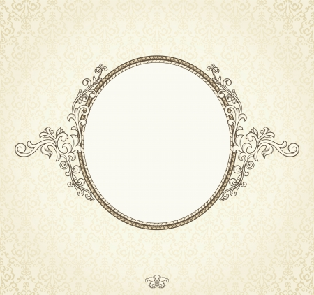 barok ornament: Gedetailleerde retro frame herhalen damastbehang
