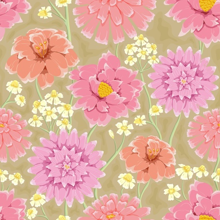 Floral seamless pattern. Hand drawn flowers. Bright colors. Perfect for wrapping paper, wallpaper,textile Illustration
