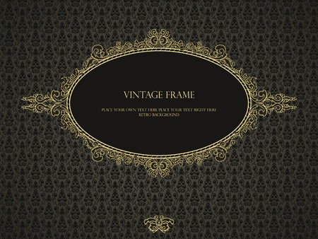 baroque border: Luxury frame in retro style on seamless damask pattern Illustration