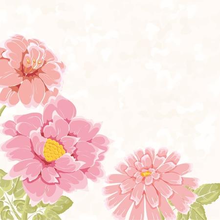 Stijlvolle achtergrond met de hand getekende bloemen en plaats voor tekst. Kan gebruikt worden als trouwkaart of valentijn Stock Illustratie