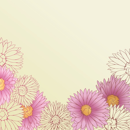 Floral background with hand drawn pink flowers. Vector