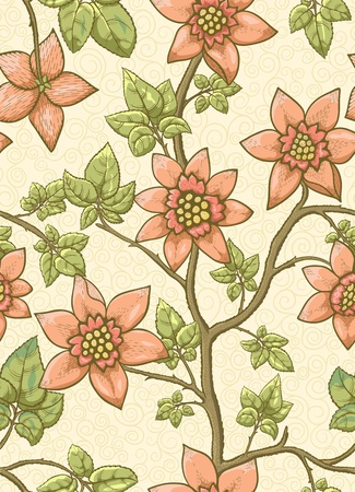 textile image: Hand drawn plant with flowers on beige background. Seamless pattern