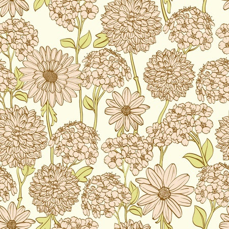 Hand drawn floral wallpaper with pink flowers. Could be used as seamless wallpaper, textile, wrapping paper or background