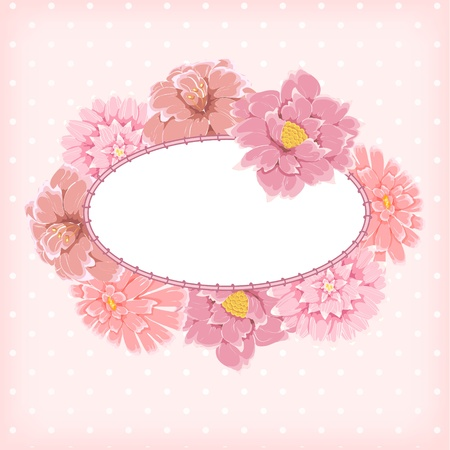 Frame with hand drawn flowers on polka-dot background Ilustração