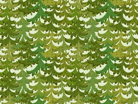 Seamless pattern with green Christmas trees on light background. Vector