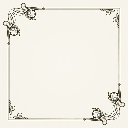 Vintage frame on seamless wallpaper with floral elements Vector