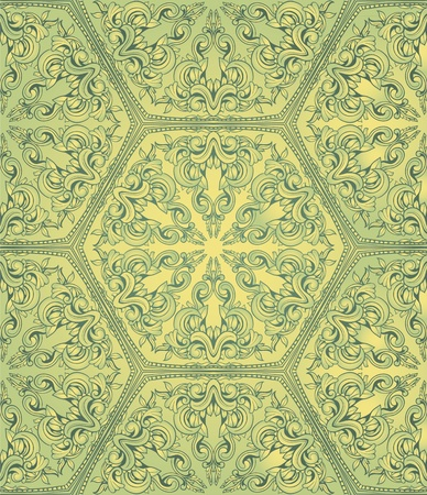 victorian wallpaper: Vintahe seamless pattern on green gradient background