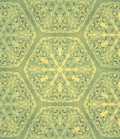 Vintahe seamless pattern on green gradient background Stock Vector - 11156710