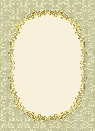 art frame: Vintage frame with shadow on seamless damask background. Background is situated on own layer and can be used separately.