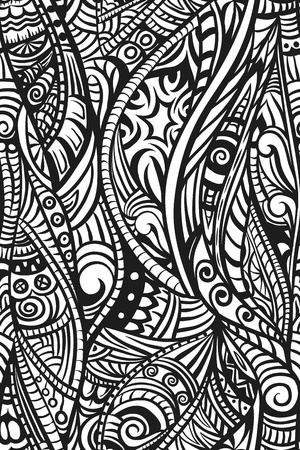 Abstract ethnic seamless pattern. Hand drawn. Black and white