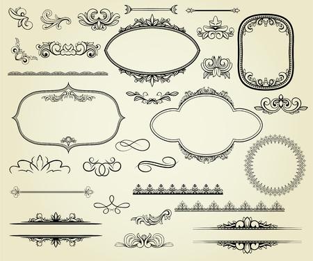 多くのデザイン要素: ラベル、罫線、フレーム、等。ページ装飾、証明書などに使用できます。